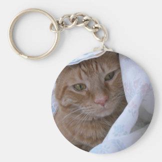 Orange Tabby Cat Basic Round Button Key Ring