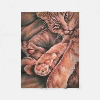 Orange Tabby Cat Drawing Curled Up Fleece Blanket