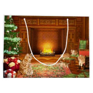 Orange tabby cat family Christmas Large Gift Bag