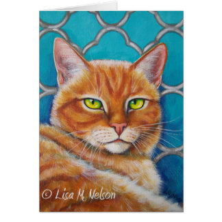 Orange Tabby Cat on Turquoise Quatrefoil Card