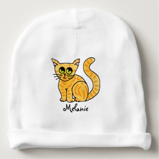 Orange Tabby Cat Personalized Baby Beanie
