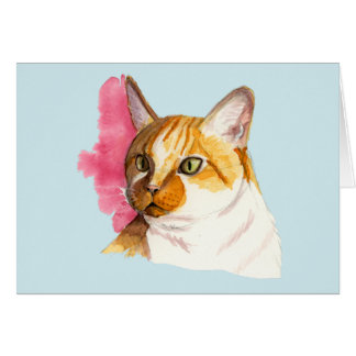 Orange Tabby Cat Watercolor Painting Card