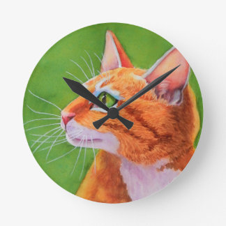Orange Tabby Cat Whiskers Round Clock