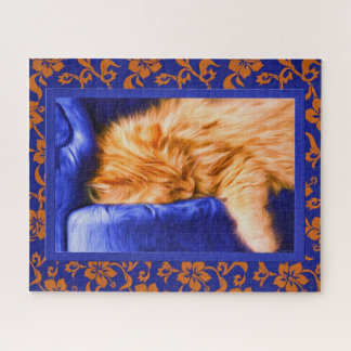 Orange Tabby Cat with Blue Floral Border Painting Jigsaw Puzzle