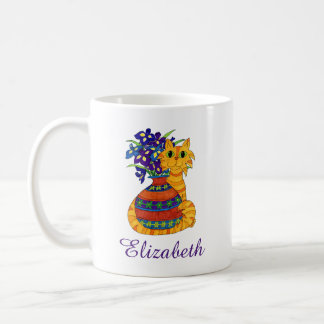 Orange Tabby Cat with Vase of Irises Custom Name Coffee Mug