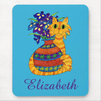 Orange Tabby Cat with Vase of Irises Custom Name Mouse Pad