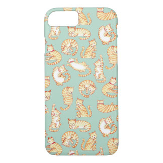 Orange Tabby Cats Illustrated Pattern iPhone 7 Case