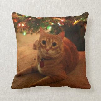 Orange Tabby Christmas Pillow