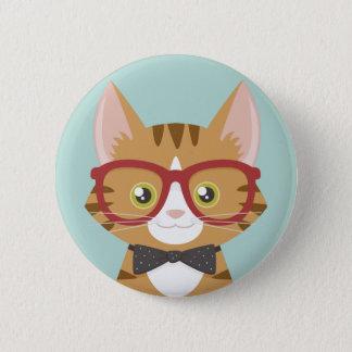 Orange Tabby Hipster Cat Illustration 6 Cm Round Badge