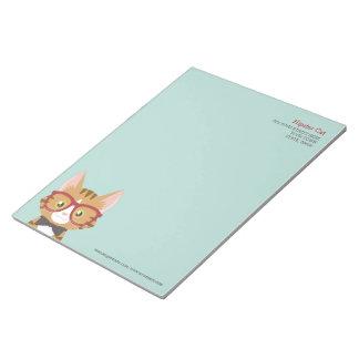 Orange Tabby Hipster Cat Kids Large Notepad