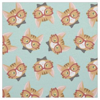 Orange Tabby Hipster Cat Pattern Fabric