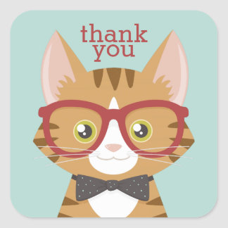 Orange Tabby Hipster Cat Thank You Stickers