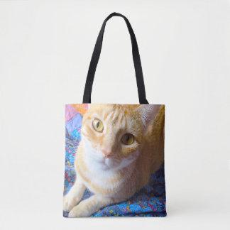 Orange tabby on quilt tote bag