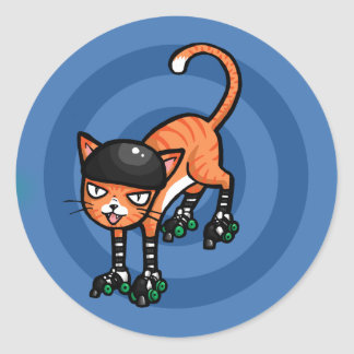 Orange tabby on rollerskates classic round sticker