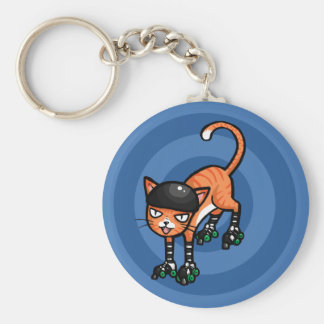 Orange tabby on rollerskates key chain