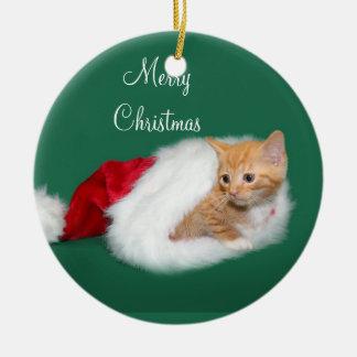 Orange tabby Santa hat Ornaments