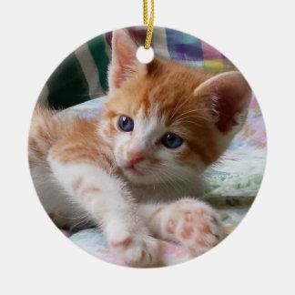 Orange Tabby & White Kitten Ornament