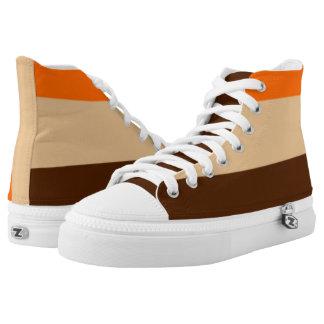 Orange Tan and Brown Striped Hi-Top