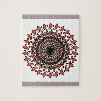 Orange Tan Geometric Spiral Design Puzzle