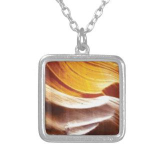 orange tan sun rocks silver plated necklace