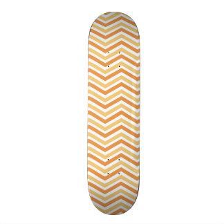 Orange, Tan, White Chevron Pattern Custom Skate Board