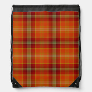 Orange Tartan Drawstring Backpack
