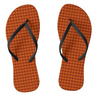 Orange Tartan Flip Flops
