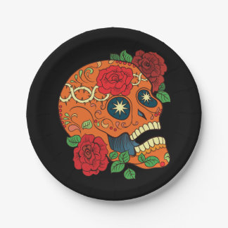 Orange Tattoo Day of Dead Sugar Skull Red Roses Paper Plate