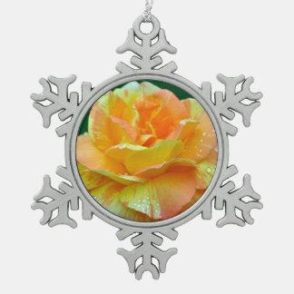 Orange tea rose christmas ornament