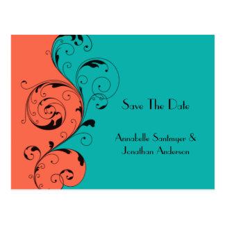 Orange Teal Black Swirls Save The Date Postcard