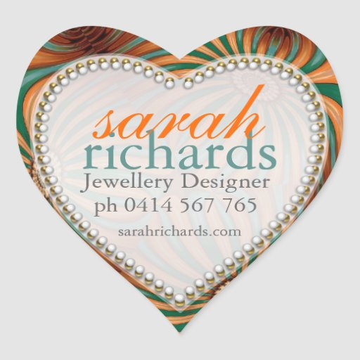 Orange Teal Floral Swirl CustomName Heart Stickers