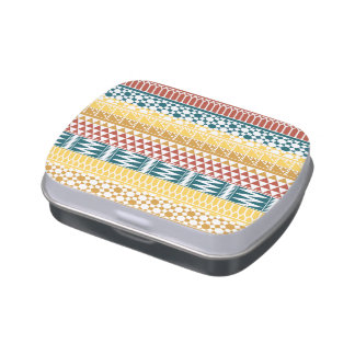 Orange Teal Geometric Aztec Tribal Print Pattern Candy Tin