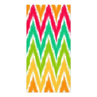 Orange Teal Ikat Chevron Zig Zag Stripes Pattern Customised Photo Card