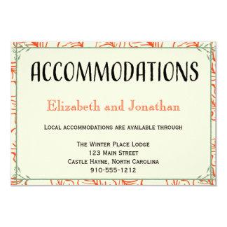 Orange & Teal Rustic Wedding Accommodations Card