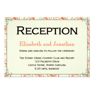 Orange & Teal Rustic Wedding Reception Card