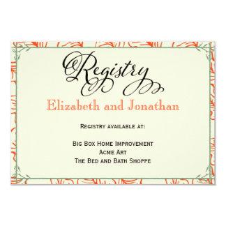 Orange & Teal Rustic Wedding Registry Card
