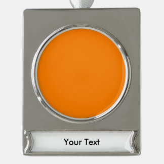 Orange template to personalized pictures and text silver plated banner ornament