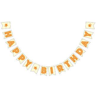 ORANGE TEXT AND CREAM COLOR ☆ HAPPY ☆ BIRTHDAY ☆ BUNTING