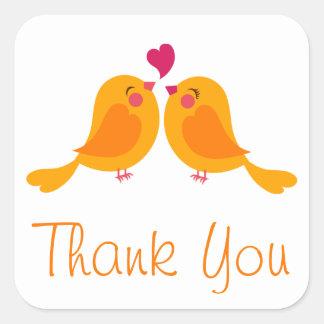Orange Thank You Lovebirds Wedding Stickers / Seal