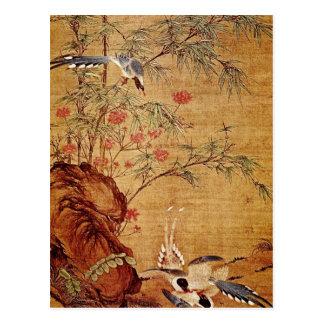 Orange Three Magpies and Spring Flowers, Pien Wen- Postcard