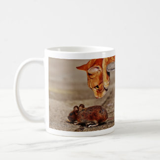 Orange Tiger Cat and Mouse Coffee Mug