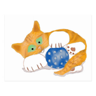 Orange Tiger Kitten plays with a Blue Whiffle Ball Postcard