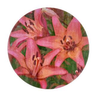 Orange tiger lily floral print glass cutting board