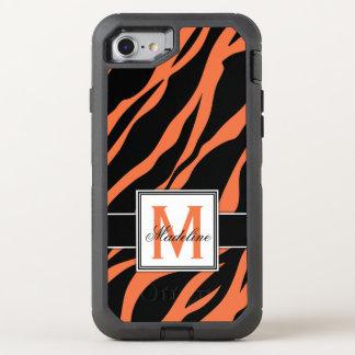 Orange Tiger Stripes Monogram, Mobile OtterBox Defender iPhone 8/7 Case
