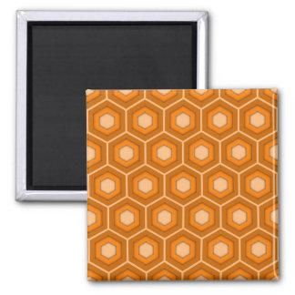 Orange Tiled Hex Square Magnet