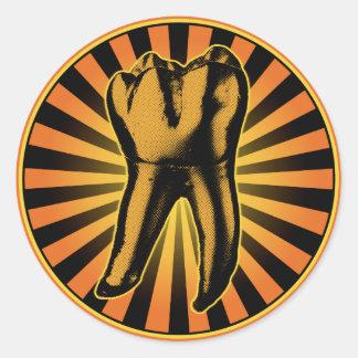 Orange Tooth Graphic Emblem Round Sticker