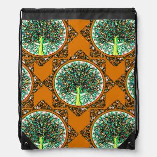 Orange Tree of Life Pattern Drawstring Bag