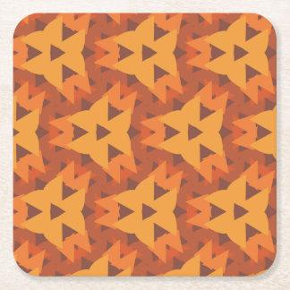 Orange Triangle Pattern Square Coaster