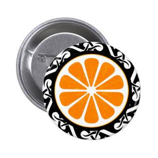 orange. tribal. 6 cm round badge