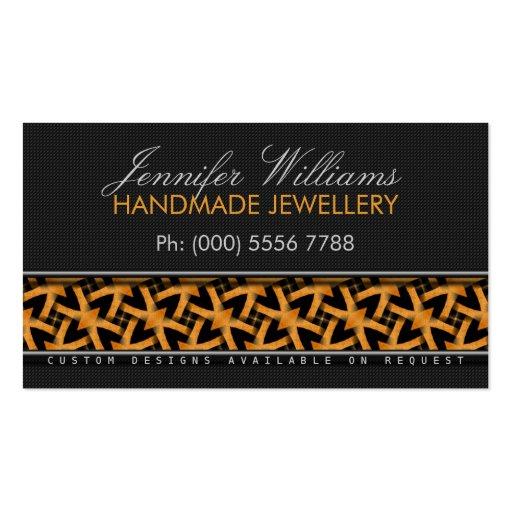 Orange Tribal Batik Stylish Black Business Cards